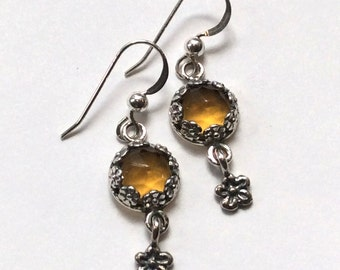 Citrine earrings, Flower earrings, Sterling silver earrings, silver floral earrings, long earrings, botanical earrings - Juliette E8012