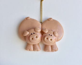 Personalized Pig Couple Christmas Ornament