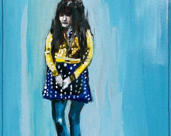 Giclee Art Print, Whimsical Girl Polka Dot Painting, Modern Home Decor, 8 x 10