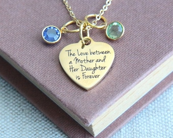 Mother Daughter Necklace, Mother Necklace, Mothers gift from daughter, Personalized Necklace, Birthstone Necklace, Gift for Mother Mom