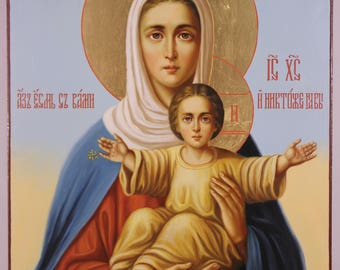 """Leushinskaya icon of the Mother of God """"I am with you, and no one is on you"""", Russian Orthodox handpainted icon, Theotokos"""