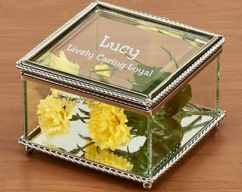 Engravable Glass Jewelry Box, Beaded Trinket Box, Personalized Jewelry Box, Personalized Glass, Glass Jewelry Box, Glass Box