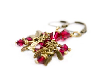 Falling Leaves with woven crystal earrings, Deep Pink Earrings, Swarovski earrings, Brass Leaves, Brass earrings, Fall Earrings, Handmade