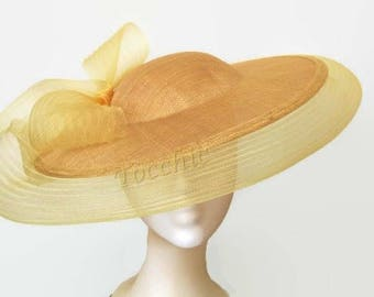 Original yellow hat, Gold wedding hat, yellow Ascot hat, yellow veil hat, Yellow derby hat for women, Gold races hat, gold tea party hat