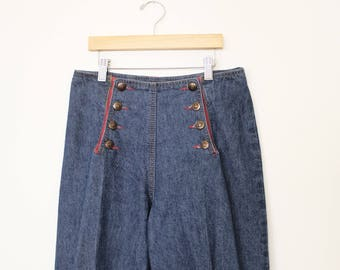 "Vintage Button Front Sailor Jeans High Waist Wide Leg size 9 waist 29"" Long length"