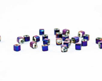 PCO27 - Set of 10 glass cubic zirconia electric hues of blue purple metallic color