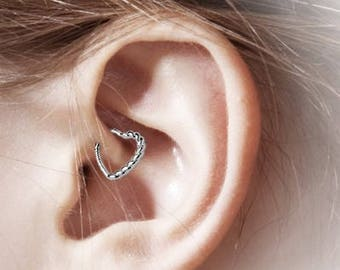 14k White Gold Daith Piercing Braided Heat Bendable Ring..16g..Solid Gold