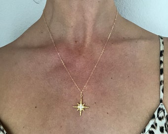 14K gold starburst necklace