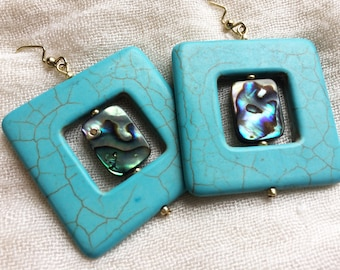 Turquoise and Abalone Large Square Drop Earrings
