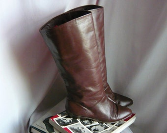 Vintage IPANEMA Slouch Knee Boots Leather / Size 8 .5 M Eu 39 UK 6 / Flat Pixie Pirate Cuff / Chocolate Brown made Brazil