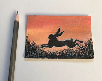 Sunset silhouette - hare original ACEO/ Artists trading card. Mixed media. Free UK delivery.