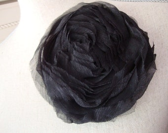 """3.5"""" Black Tulle Rose Flowers Applique Lace Trim Floral Embellishment Deconstructed Black Lace Applique S116"""