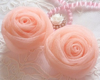 2 Organza Rolled Roses Chiffon Roses Organza Roses Chiffon Flowers In Peach pink MY-352-07 Ready To Ship