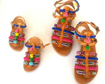 Mothers day gift|Mother and daughter boho sandals|Gladiator Sandals|2 pairs|Matching mommy daughter|Greek handmade sandals|Pompom sandals