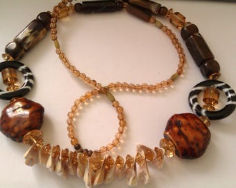 multi bead long necklace
