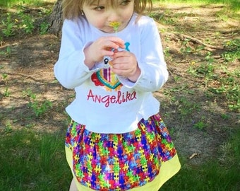 Autism Awareness  Skirt ( 18 mos, 24 mos, 2T, 3T, 4T, 5, 6, 7, 8)