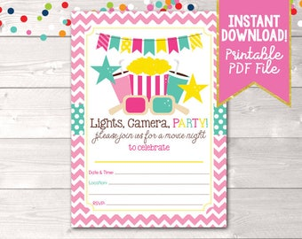 Printable Girls Movie Party Birthday Party Invitation Instant Download Digital File for Children Fill in the Blank PDF