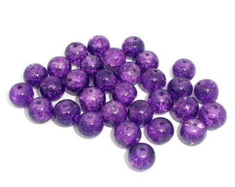 -8 - mm round glass beads, purple colors, Crackle effect.