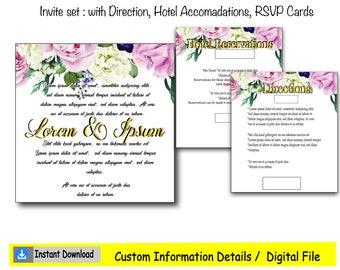 Elegant Floral Frame Wedding invite set