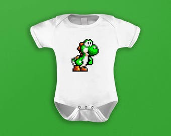 Pixel Yoshi Baby Grow / Bodysuit / Onesie (Super Mario World)