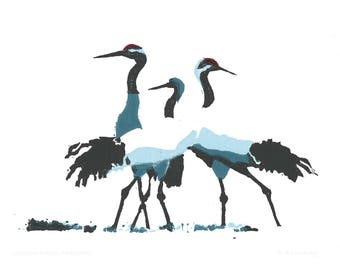 A5 card - Japanese cranes (Grus japonensis)