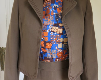 Classikem A-Line Shift Dress and Jacket - 1970s Two Piece Suit - Brown/Multi - Size 10 UK