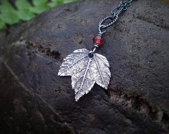 Acer spp. - Tiny Maple Leaf - Garnet - Fine Silver Real Botanical Leaf Pendant  by Quintessential Arts