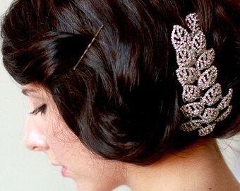 Bridal crystal headpiece, haircomb - Crystal leaf hair comb - Ready to Ship