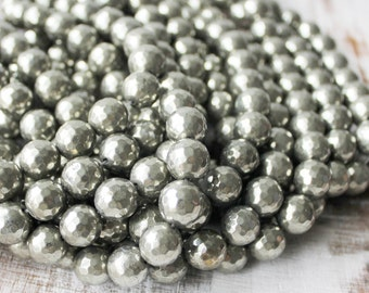 12mm pyrite, faceted pyrite, round beads, silver beads, silver pyrite, gemstone beads,