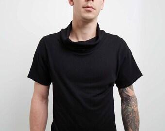 Crisiswear Decker Shirt - Draped NeckBlack Fleece Shirt Tank Simplistic Futuristic Future Simple Fashion Basic  Mod Cowl Made in the USA