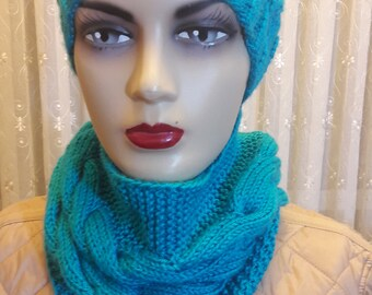 Hat and scarf Turquoise Blue Hand Knit scarf Set hat and scarf infinity scarf turquoise wool scarf turquoise wool beanie hat scarf set