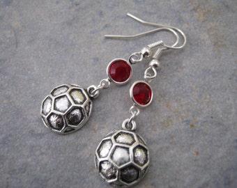 Soccer Birthstone Earrings, Personalized Soccer Earrings, Goalie Earrings, Sports Earrings, Athletic Jewelry, Soccer Mom Gift