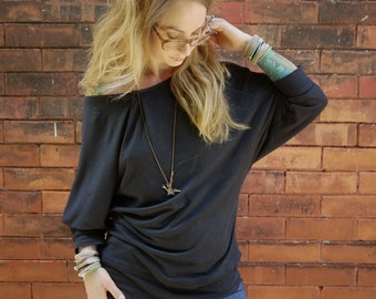 Eco Black Batwing Off the Shoulder Long Sleeve Shirt Top|Plus Size Shirt|Oversized Shirt|Black Sweater|Maternity Shirt|Dolman Sleeve Top|