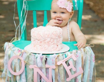 High chair banner, swag, garland, backdrop, First Birthday party decor