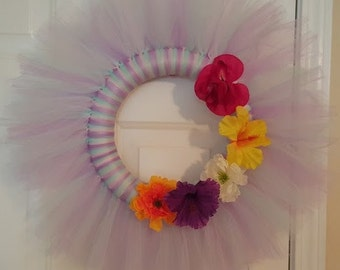 Spring Themed Tulle Door Wreath