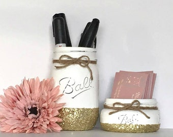 2 Pc. Mason Jar Office Set- White with Gold Glitter- Business Card Holder & Pen Holder- Office Gifts- Coworker Gifts