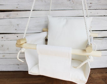 Baby White Swing with pillow white linen Swing for toddler nursery indoor outdoor swing for kids First birthday gift for girl or boy