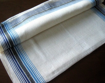 TOWEL Vintage NEW Kitchen Striped French Flax Linen Sturdy Hand Glass Cloth Blue Black NWOL