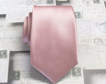 Dusty Rose Pink Necktie With *FREE* Matching Pocket Square Set