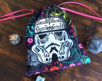 Storm Trooper Sugar Skull Bag, Dice Bag, Embroidered Bag, Jewelry Bag, Drawstring Bag