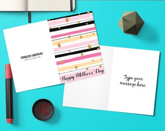 Editable, Gold Hearts, Mothers Day Card, Gift for Mom, Flowers, Mothers Day, Greeting Cards, Mothers Day Gift, Mom Gift, Digital Download