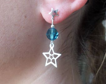 Earrings star studs, silver, crystal blue indicolite, glam rock