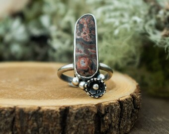 Forest Cluster Ring, Sterling Silver and Leopard Skin Jasper, Size 7