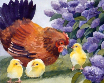 Chickens Print Hen and Chicks 8x10 Farm Animal Printed Watercolor Fine Art by Janet Zeh Zehland