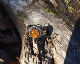 Amber Ring Sterling Silver size 8.75