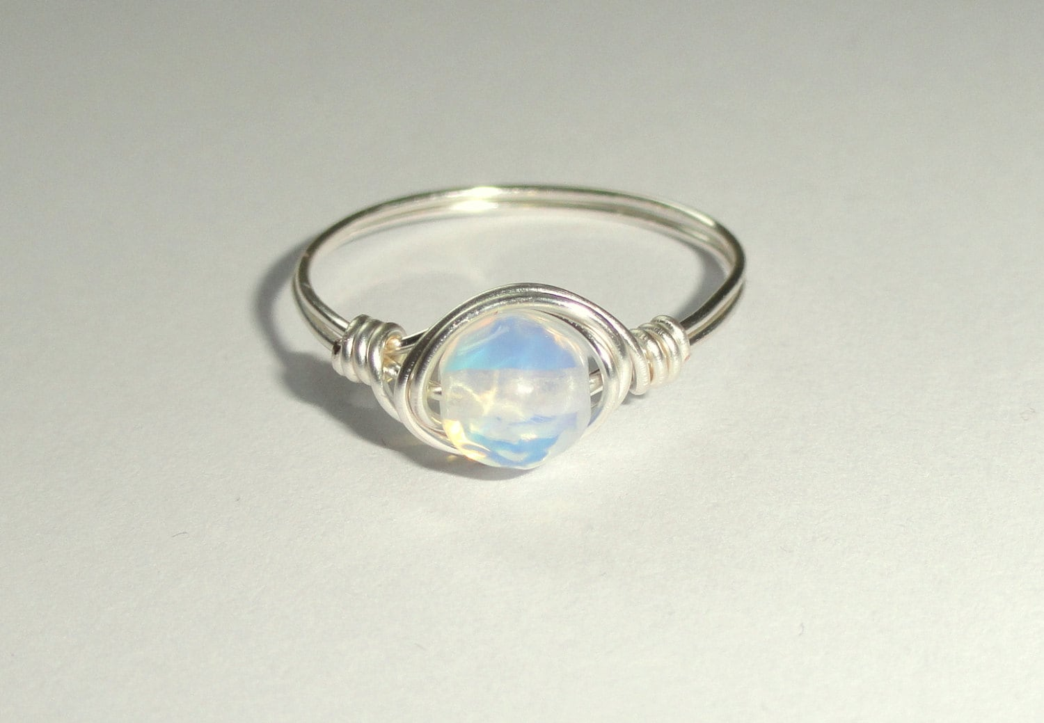 Moonstone ring Silver wire wrapped moonstone ring Moonstone