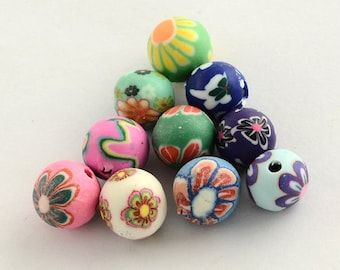 Polymer Clay Beads Assorted Colors Flower Pattern 8mm 20 pieces 8mm Beads