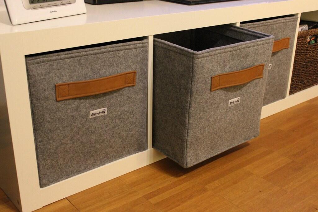?zoom & Light grey felt boxes fit into Ikea Expedit and Kallax Felt