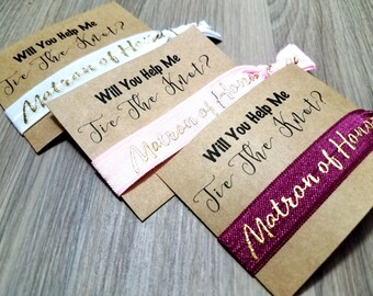 Will You Help Me Tie The Knot Matron of Honor Hair Tie Favors | Bachelorette Party Favors | Bridesmaid Proposal | Bridesmaid Gift