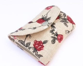 Floral Mini Wallet, Roses wallet, Small Wallet, Business Card Holder, Credit Card Holder, gift for her, accordion wallet, Fabric wallet